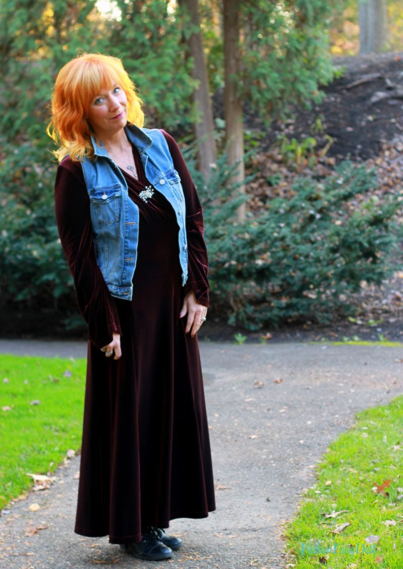 Vintage velvet maxi dress, moto jacket and denim vest. How to style a casual glam outfit.