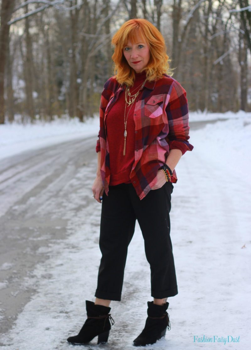 Mock turtleneck, buffalo plaid shirt and slouchy ankle boots. Layering for winter.