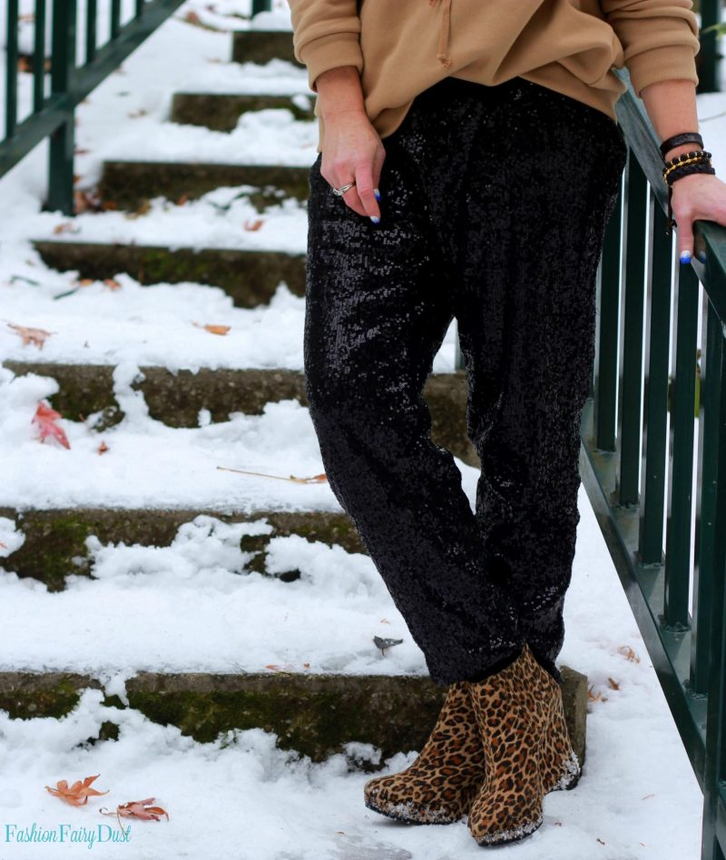 Lace up sweatshirt, sequin joggers and leopard wedge ankle boots. Styling everyday pieces with special details.