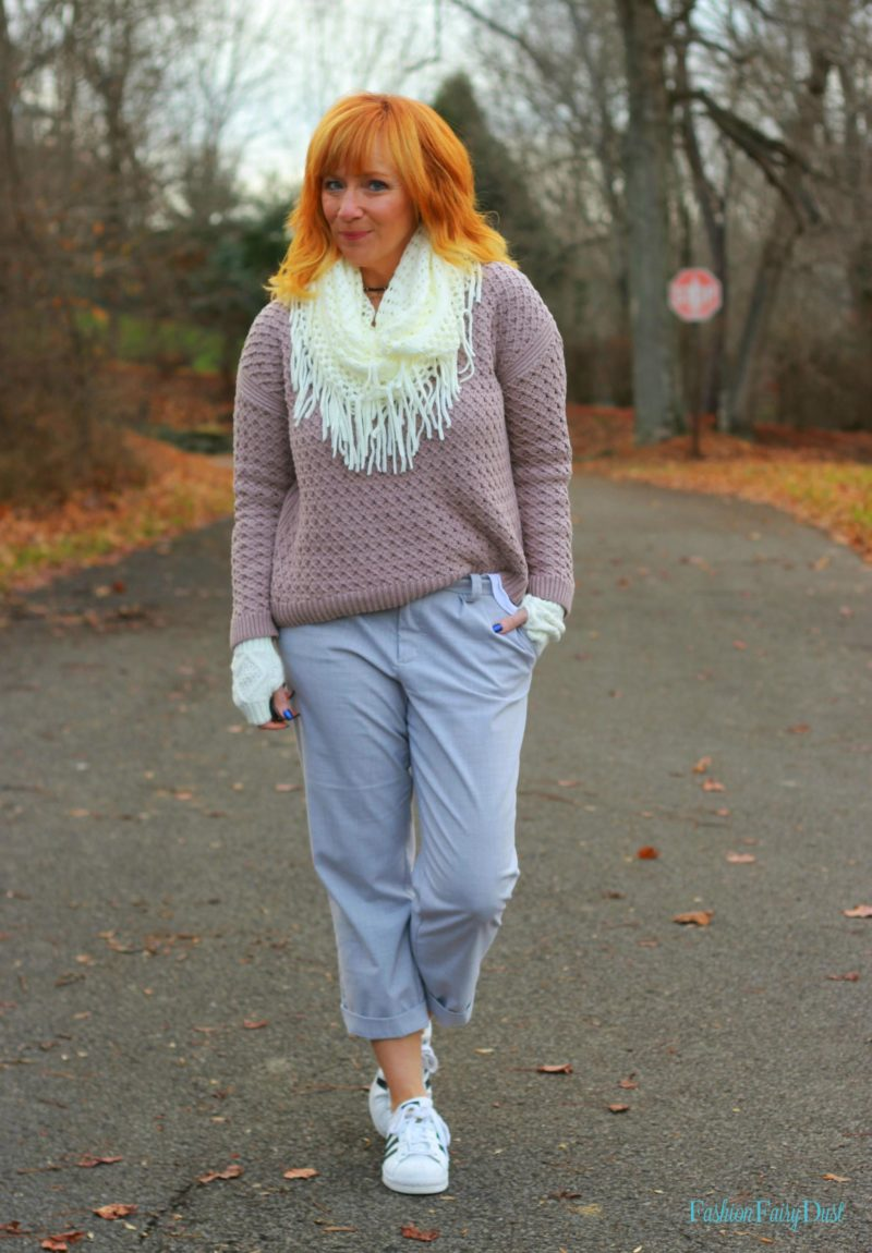 Pink hi-lo sweater, Ettika bracelet stack and gray pants. How to mix casual and professional style
