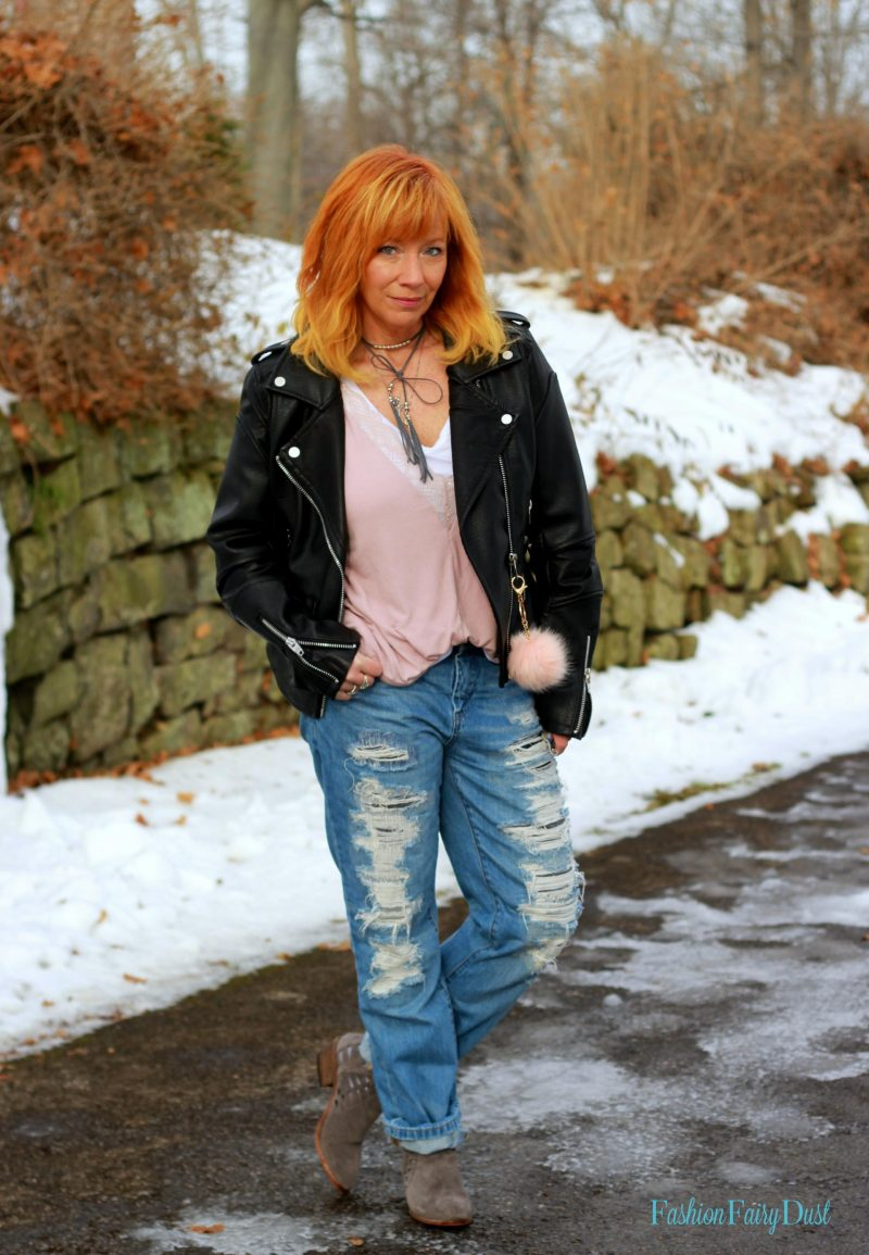Lace trimmed cami, moto jacket and distressed jeans. Developing your own personal formula for getting dressed.