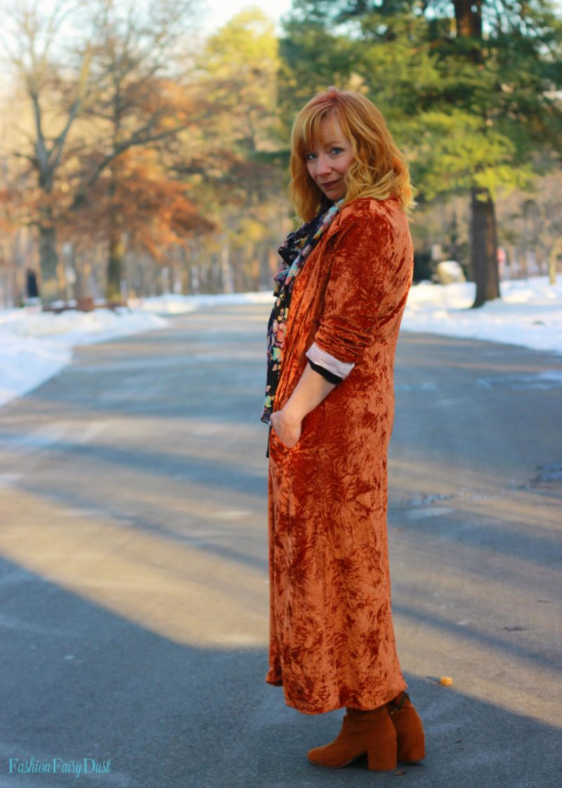 Rust velvet duster, brown over the knee boots and floral scarf. How to use one statement piece to make an outfit.