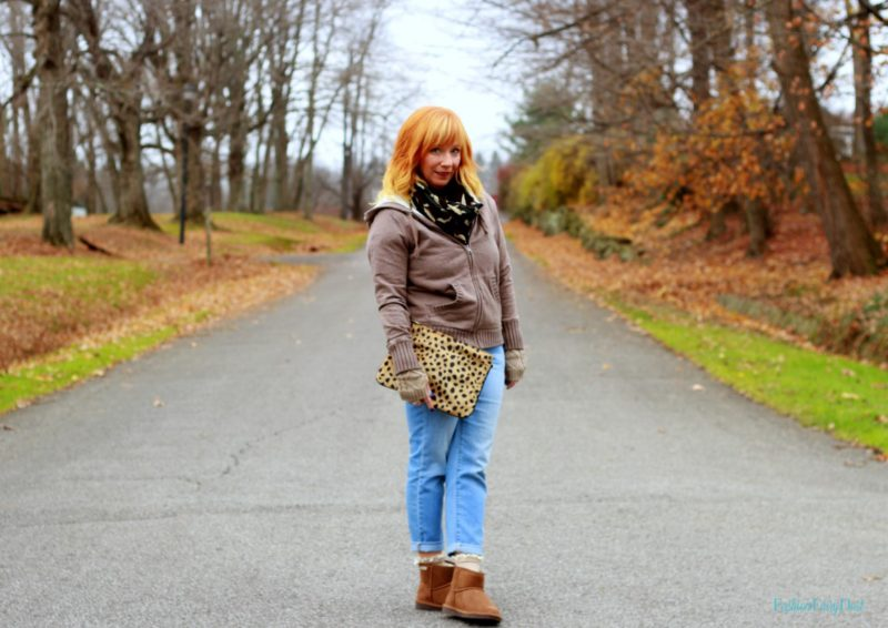 Bearpaw Boots, waffle knit top, camo scarf and fingerless gloves. How to stay warm but still look good.