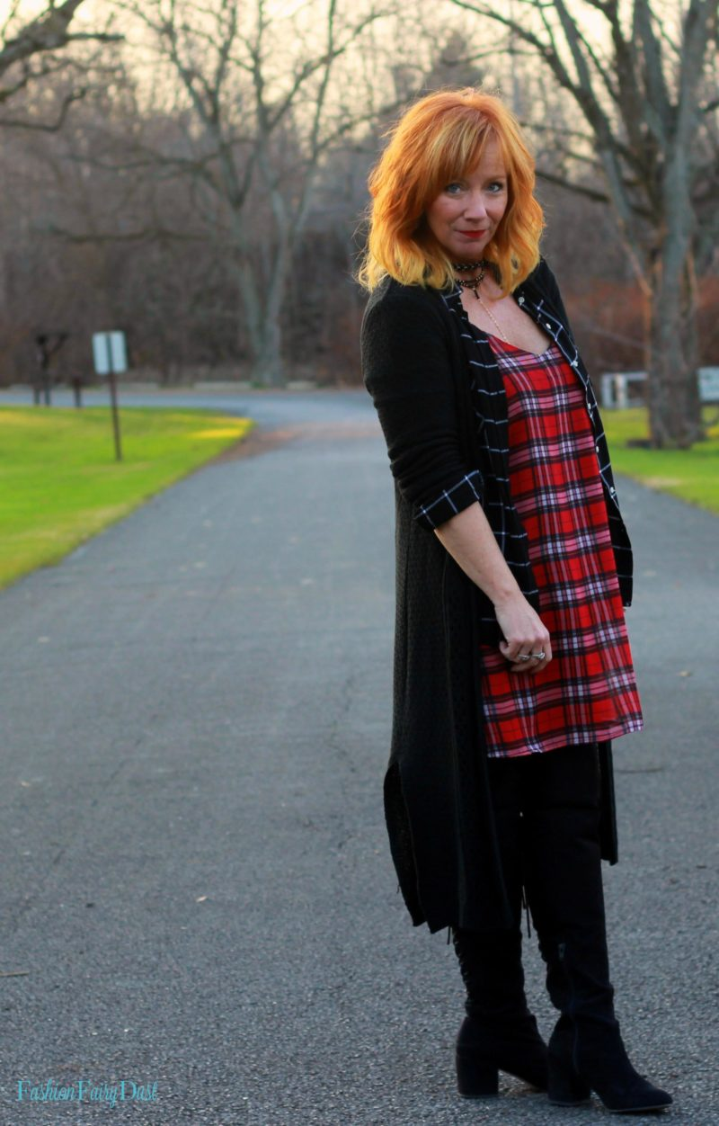 Plaid slip dress, black over the knee boots, black duster. How to mix plaids.