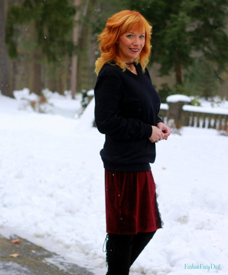 Velvet slip dress, over the knee boots and black sweater. How to wear a slip dress in the Winter.