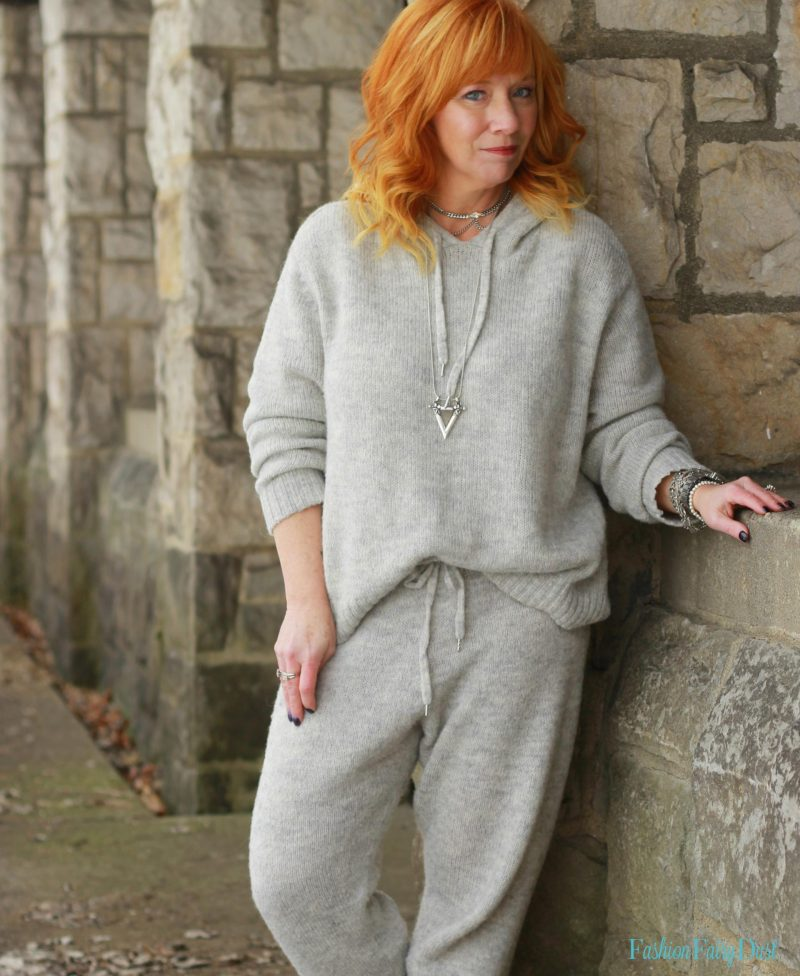 Alpaca joggers, alpaca hooded sweater and ankle boots. A new twist on sweats.