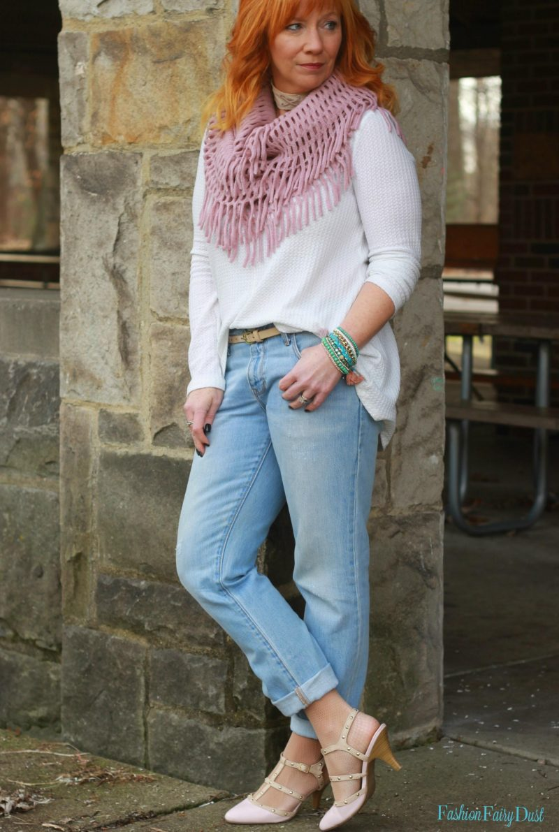 Studded pumps, waffle knit top and boyfriend jeans. How to dress up your jeans.