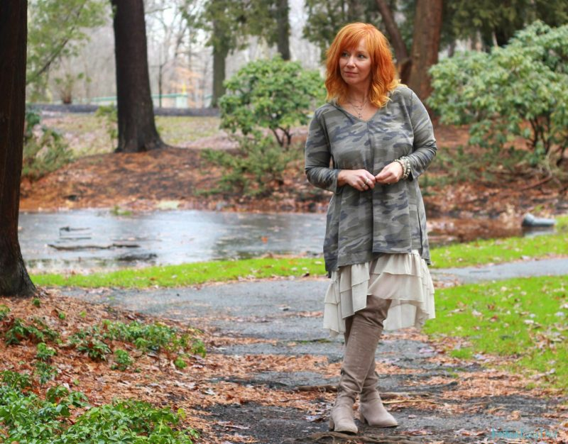 Camo tunic, ruffle skirt extender and over the knee boots. How to style a tunic as a dress.