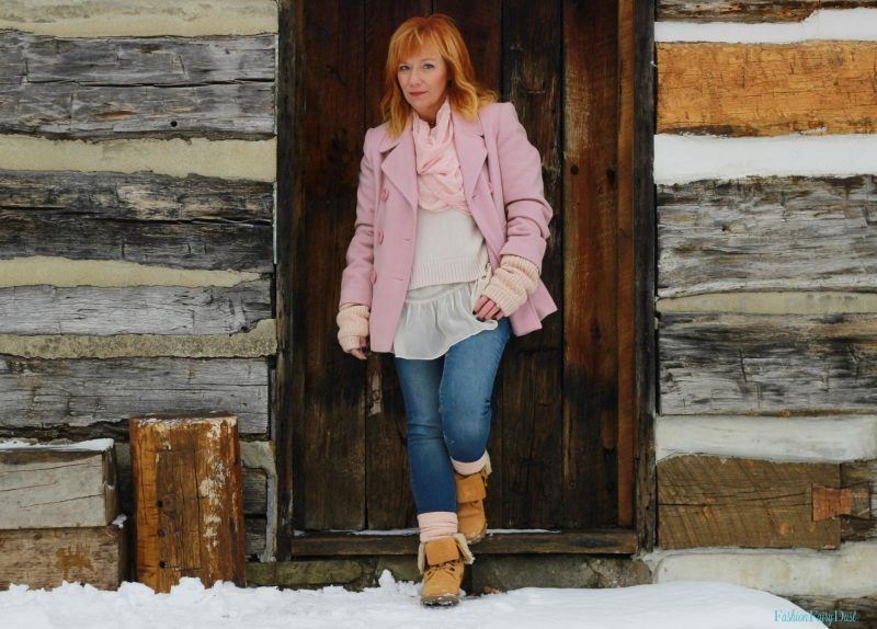 Pink coat, lace up Bearpaw boots and skinny jeans. How to look stylish when it's cold outside.