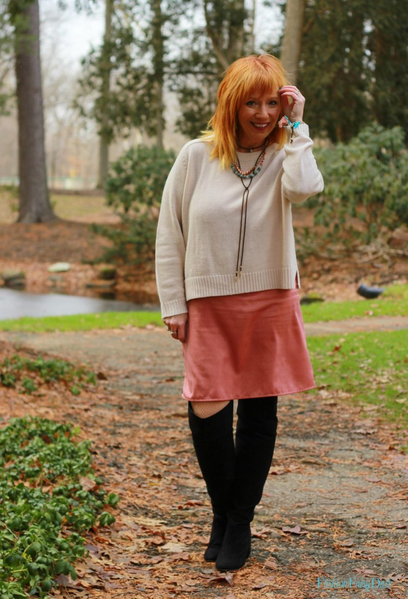 Pink slip dress, otk boots and sweater. Adding pops of color to an outfit.