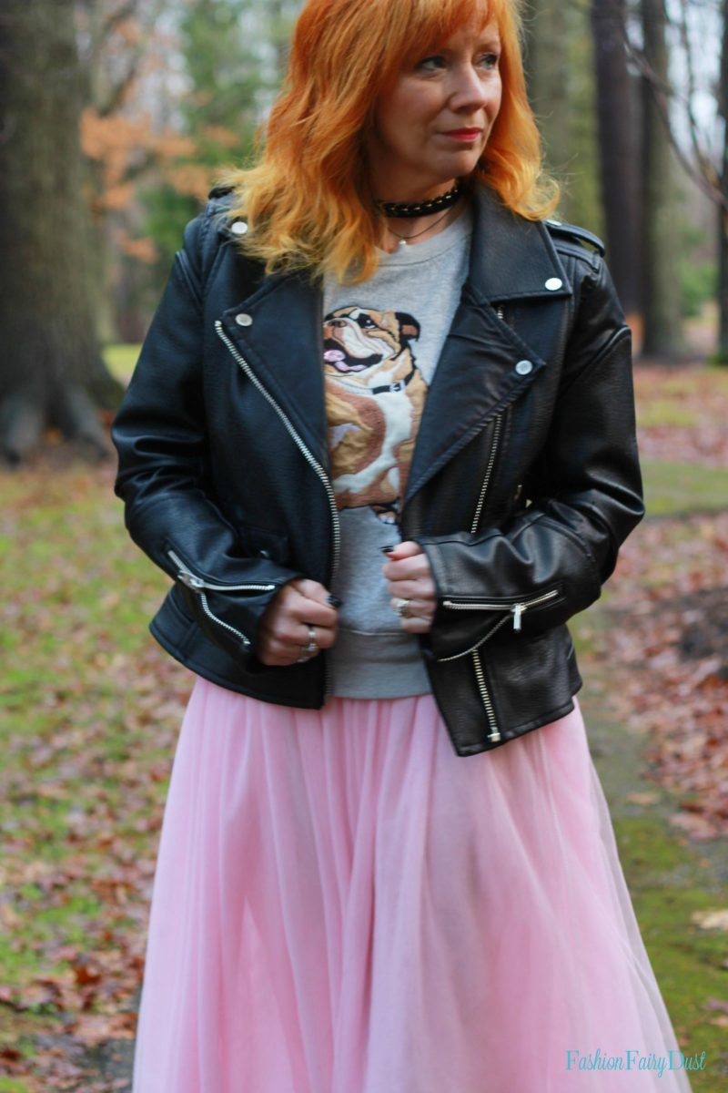 pink tulle skirt, moto jacket and Puma sneakers. How to dress down a tulle skirt.