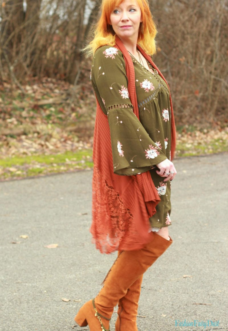 Olive floral boho dress, lace vest, over the knee boots. How to style a boho outfit.