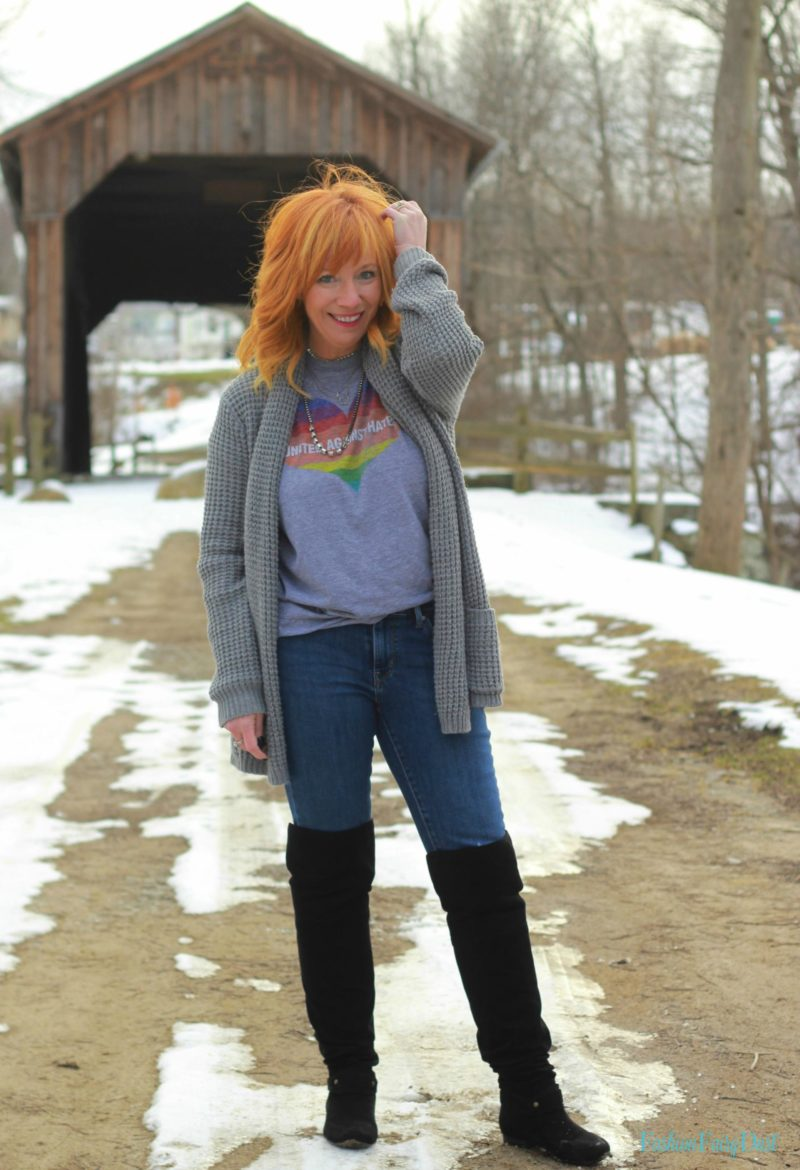 HRC graphic tee, chunky cardigan and over the knee boots. Weekend casual outfit.