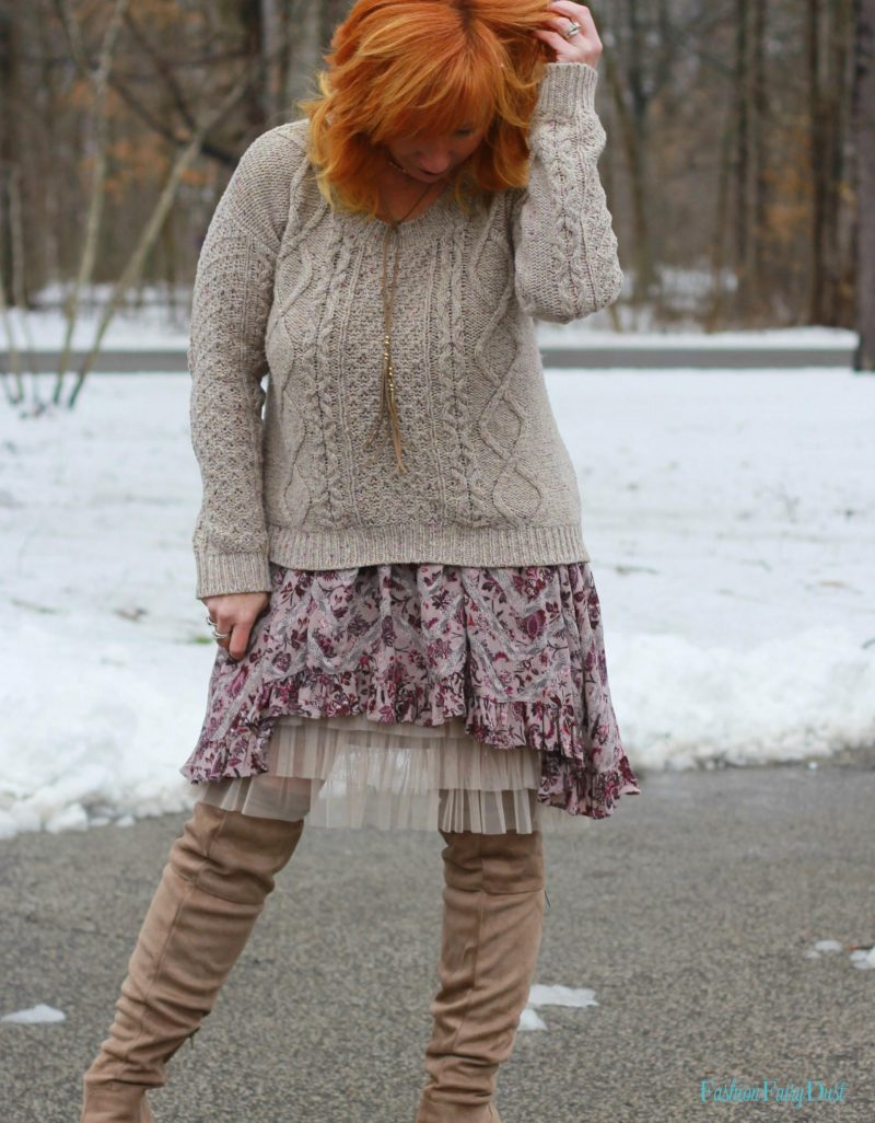 Free People Paisley Tunic, tulle skirt extender and cable knit sweater.