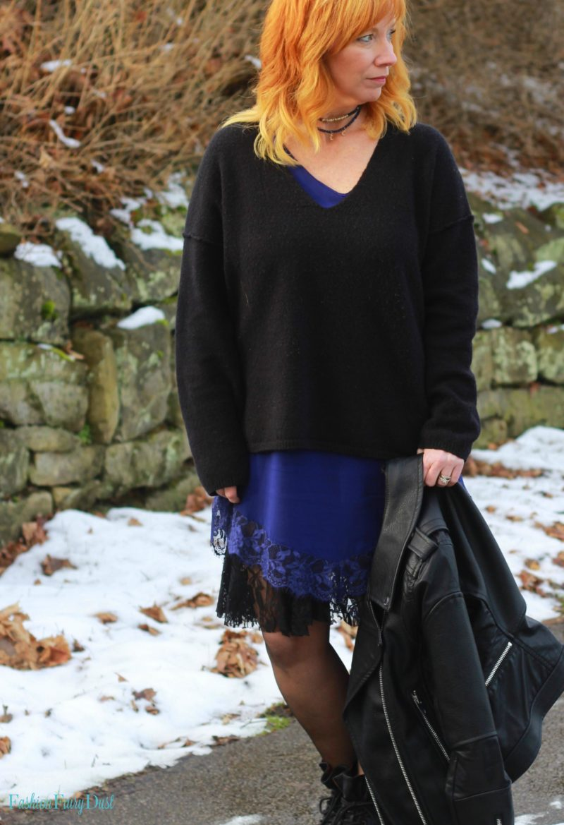 Blue slip dress, moto jacket & combat boots. How to layer lace pieces.