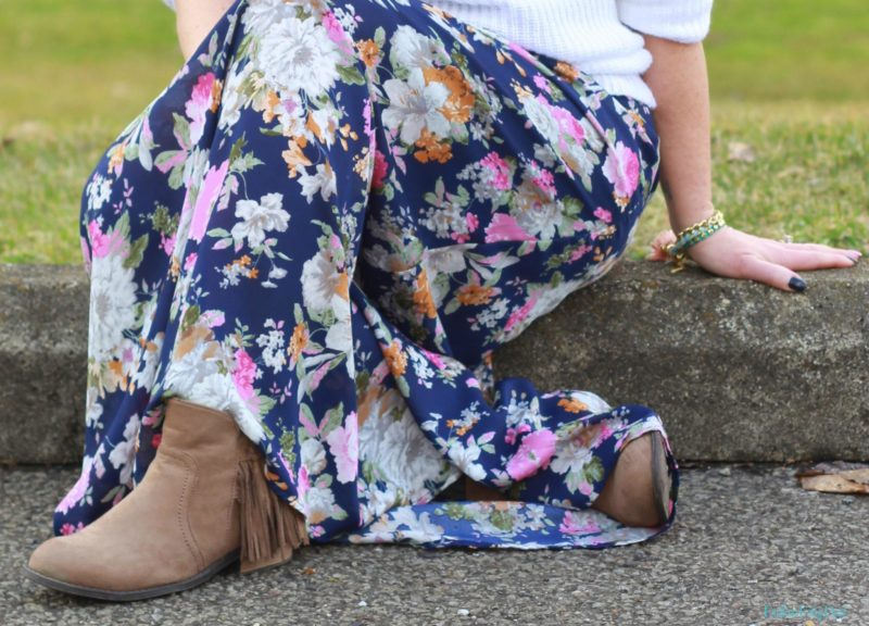 floral maxi dress, white shaker knit sweater, fringe ankle boots