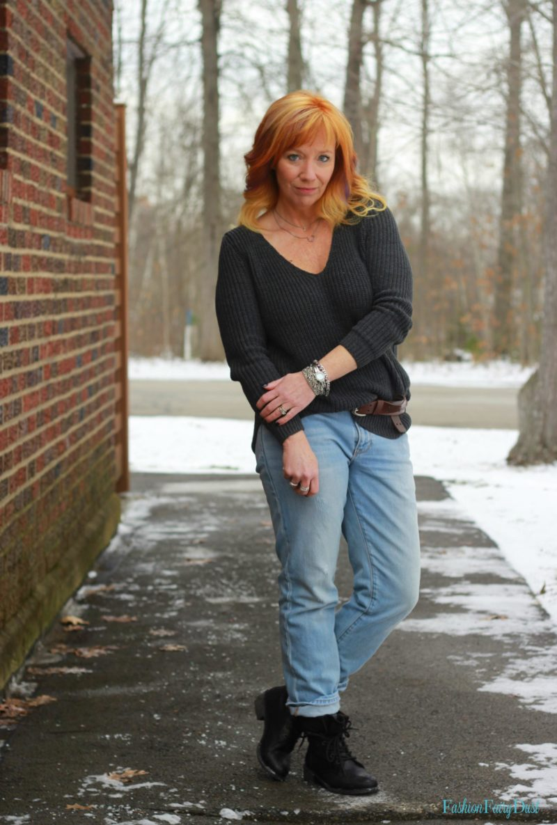 Gray Shaker Stitch Sweater Amp Combat Boots Pinstafamous