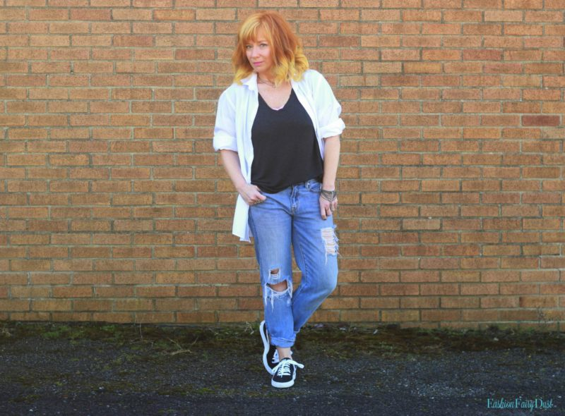 Gray tee, Puma sneakers and white button down. How to roll your sleeves like a pro.
