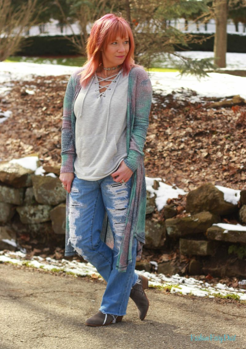Tie dye duster, lace up hoodie and boyfriend jeans. Casual weekend outfit.