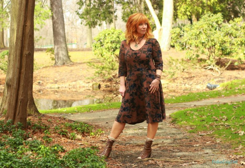 Floral print dress, peep toe ankle boots and socks. How to style open toe shoes with socks.