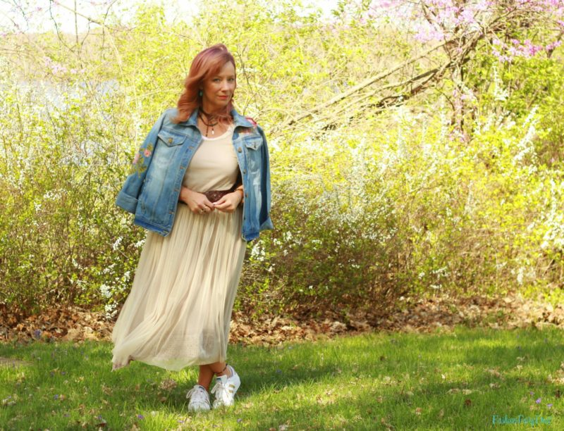 Tulle dress, Adidas & denim jacket.