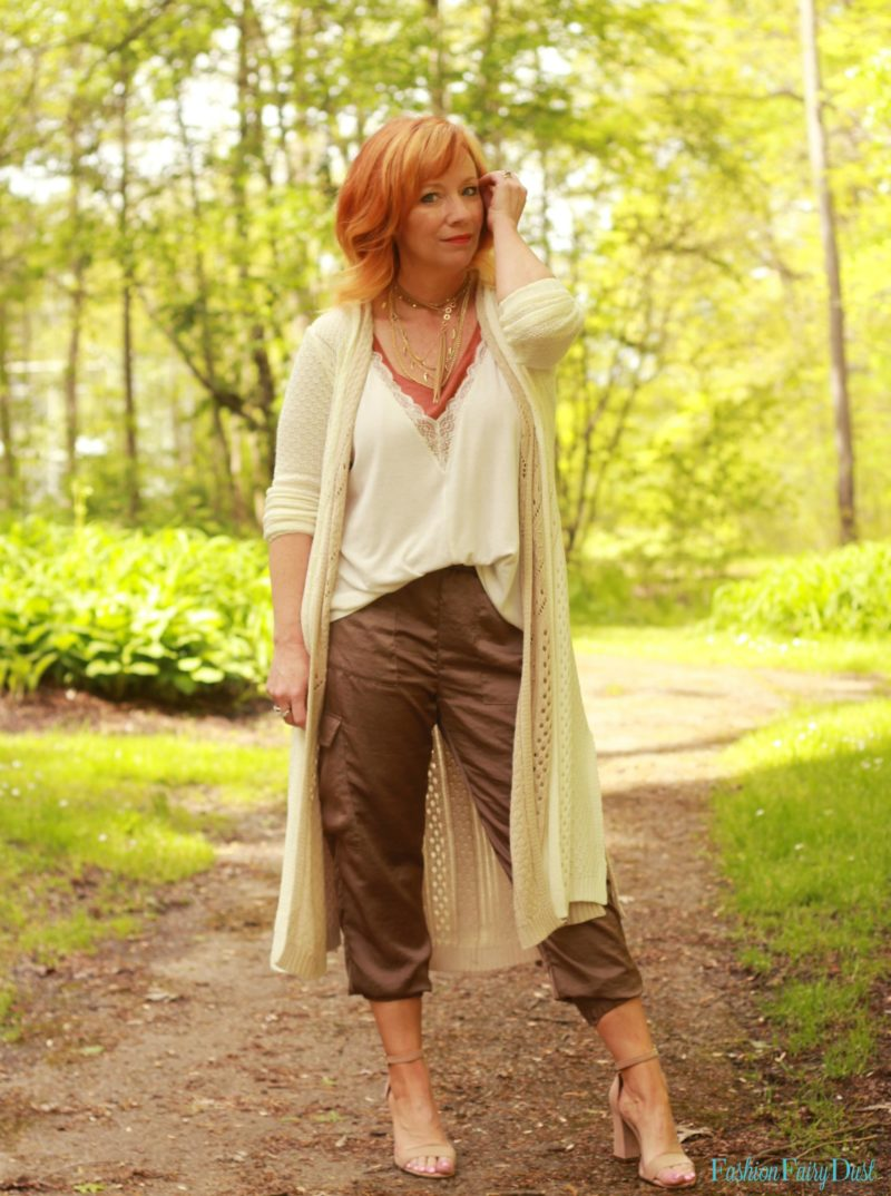 Silk joggers, cami and duster.