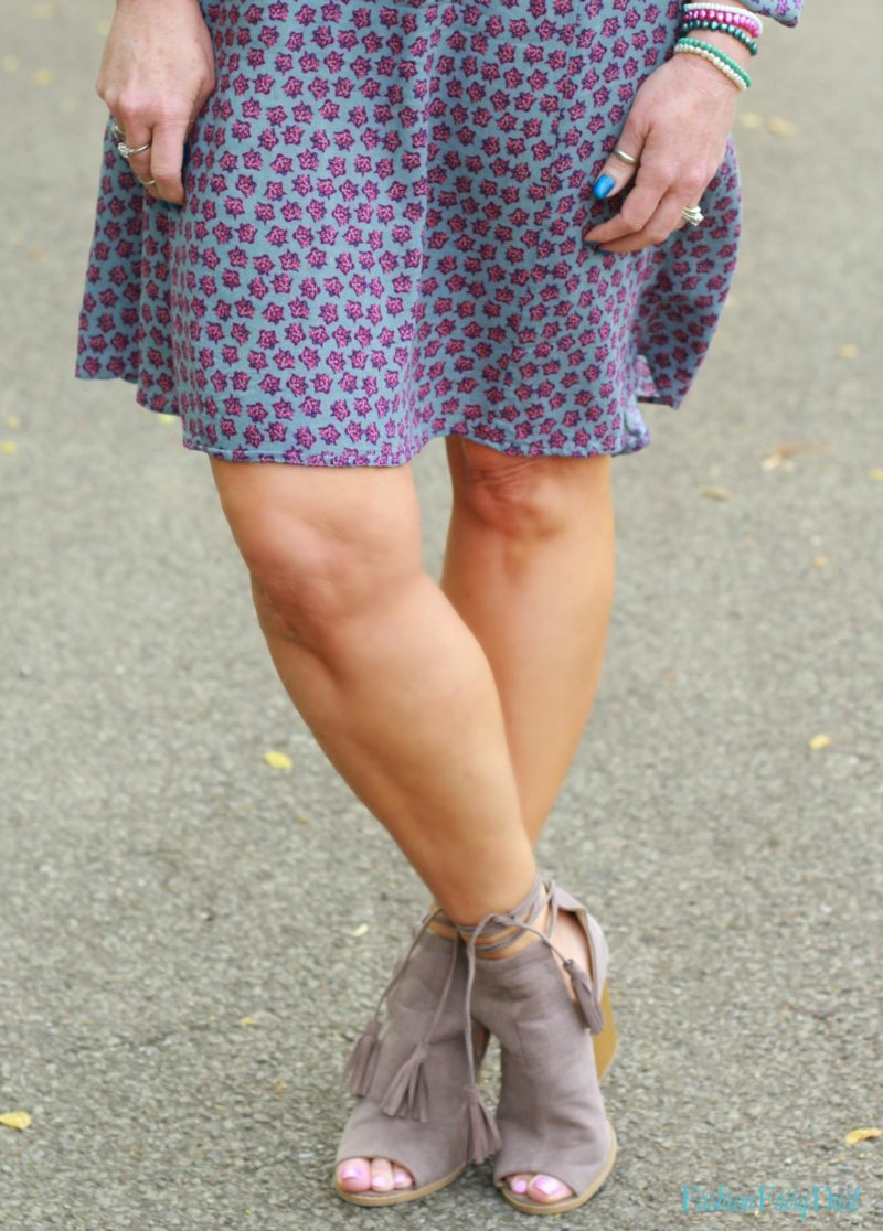 Boho dress, denim vest & peep toe booties.