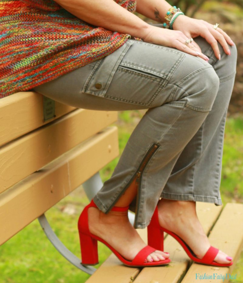 Red block heeled sandals, cargo pants and sweater.