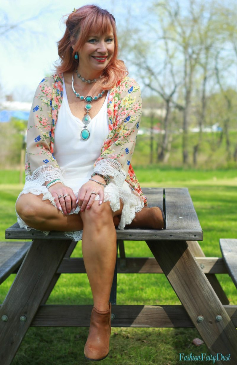 Floral print kimono, white sundress and ankle boots.