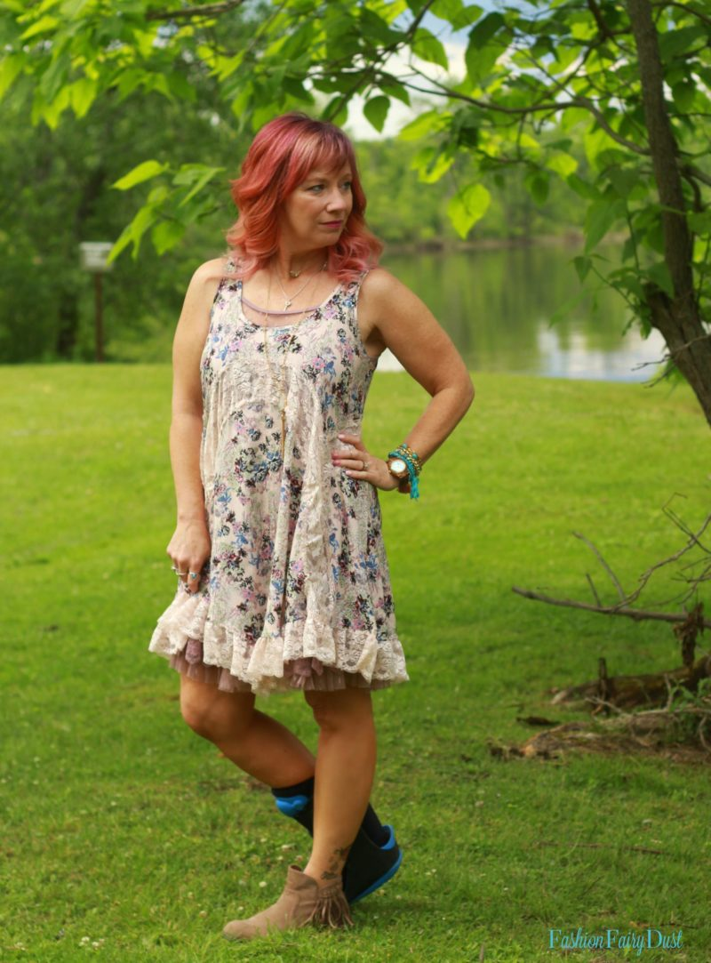 Floral boho sundress and fringe ankle boots.