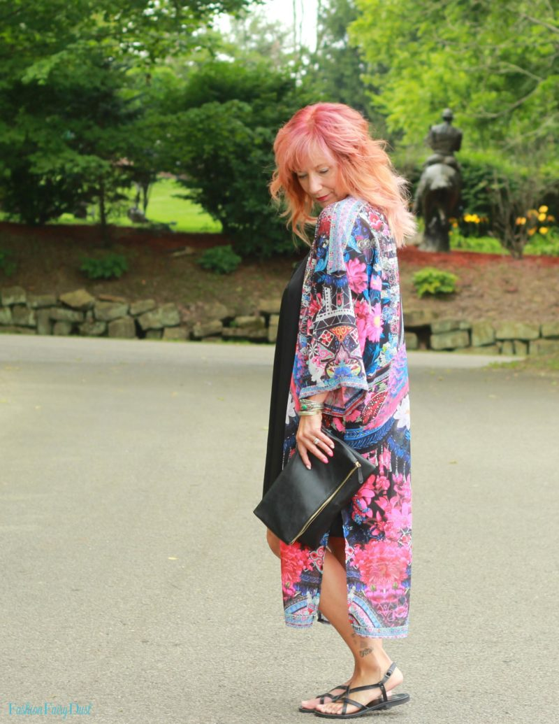 Mixed print kimono, black slip dress and sandals.