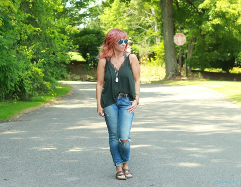 Lace trimmed cami, distressed skinny jeans and Birkenstocks.