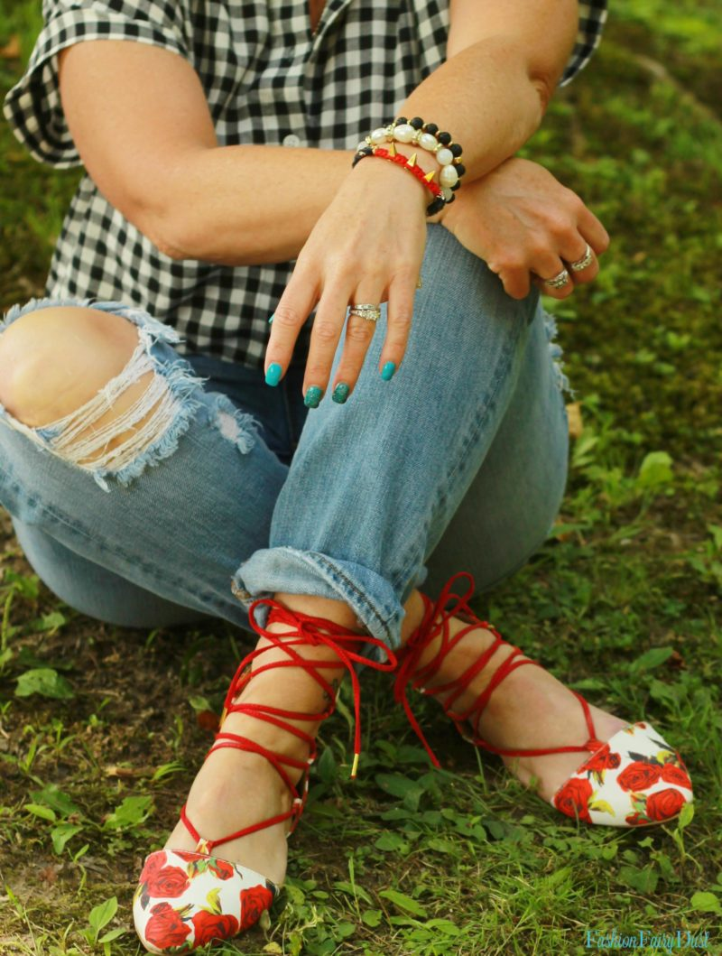 Gingham shirt, floral lace up flats and boyfriend jeans.