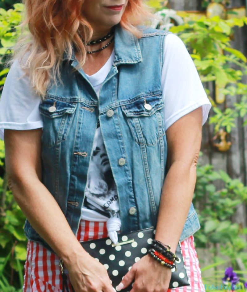 Gingham skirt, graphic tee and Adidas.
