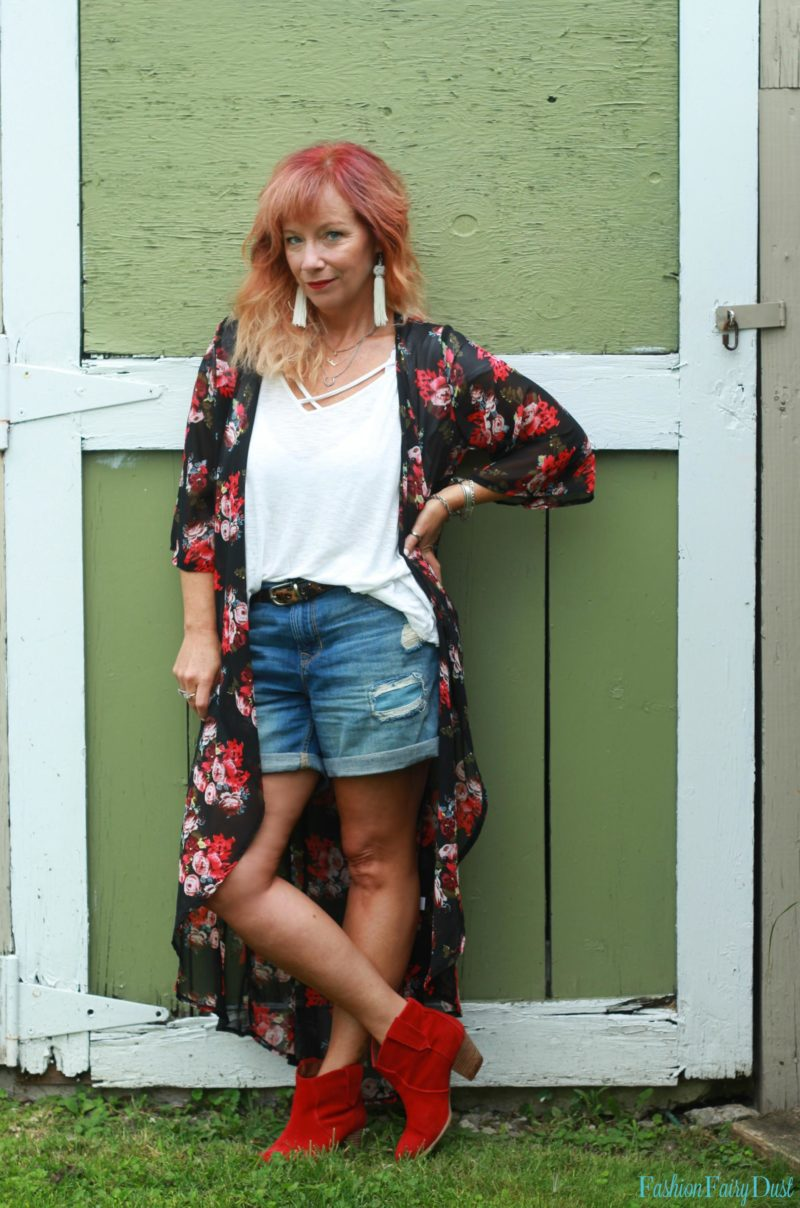 Floral long kimono, red ankle boots and denim shorts.