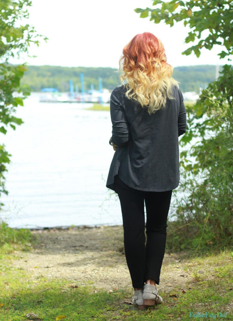 Soft Surroundings black leggings and gray ankle boots.