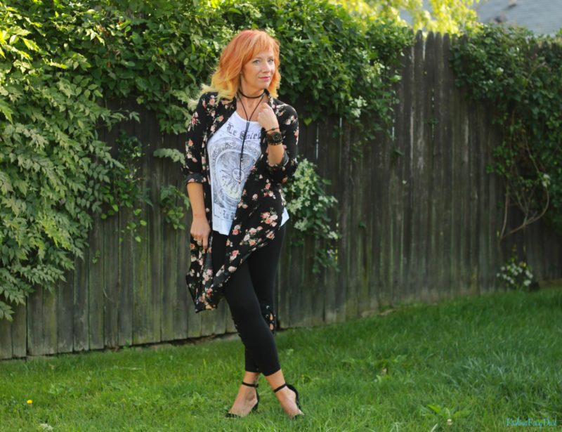 Lace up leggings, floral duster and graphic tee.