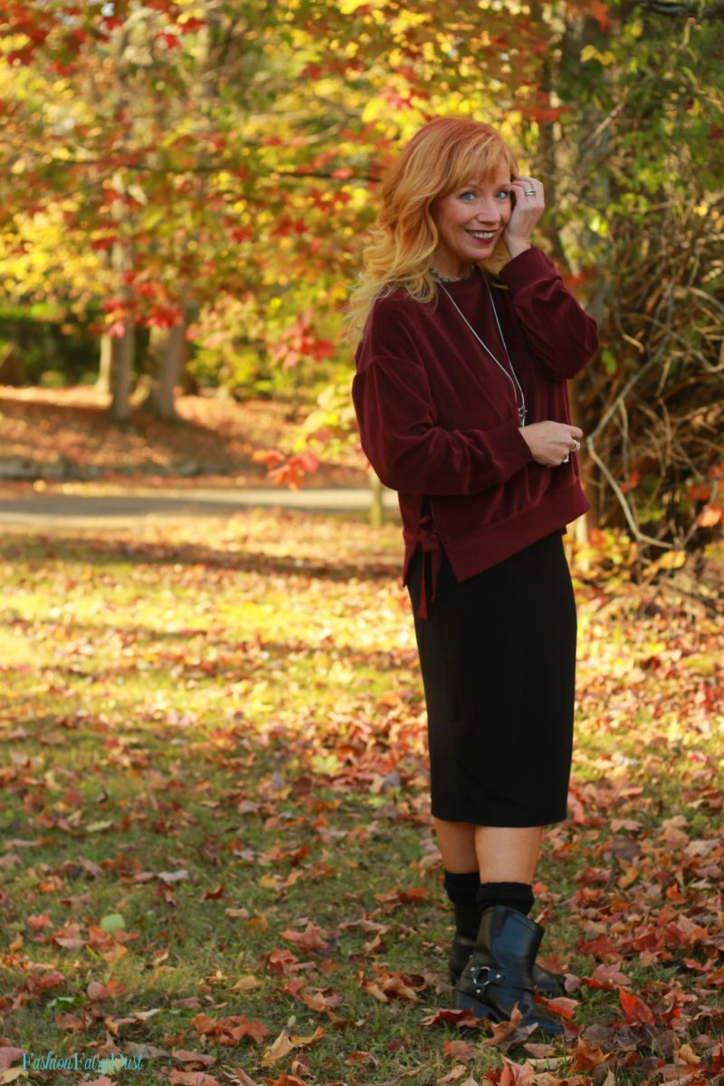 Burgundy velour top, midi pencil skirt and moto boots.