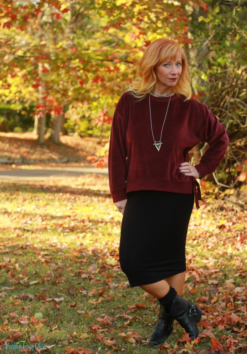 Velour Sweatshirt Amp Midi Pencil Skirt Value Yourself