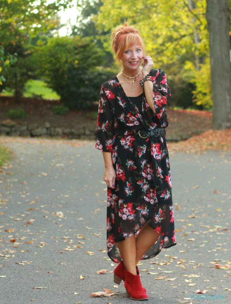 Floral kimono as a dress and red ankle boots.