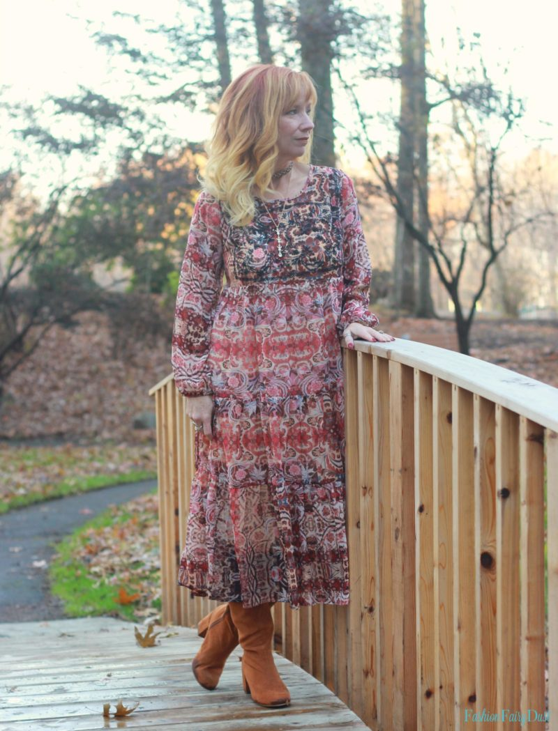 Boho midi dress and over the knee boots.