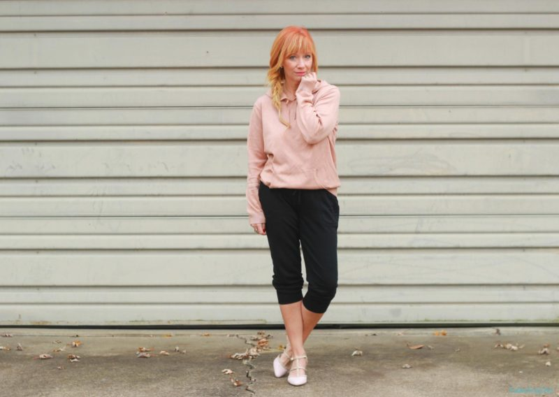 Hoodie sweater, blush pumps and joggers.