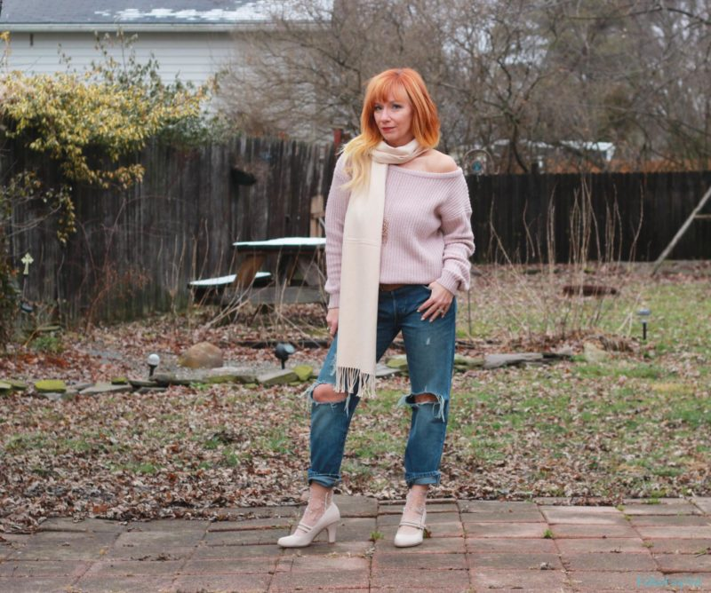 Blush Off The Shoulder Sweater & Mary Jane Pumps: Spanked by Facebook