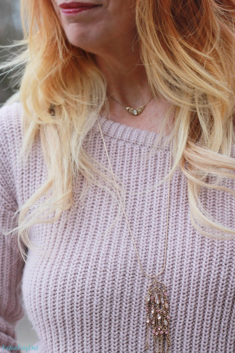 Blush off the shoulder sweater and mary jane pumps.