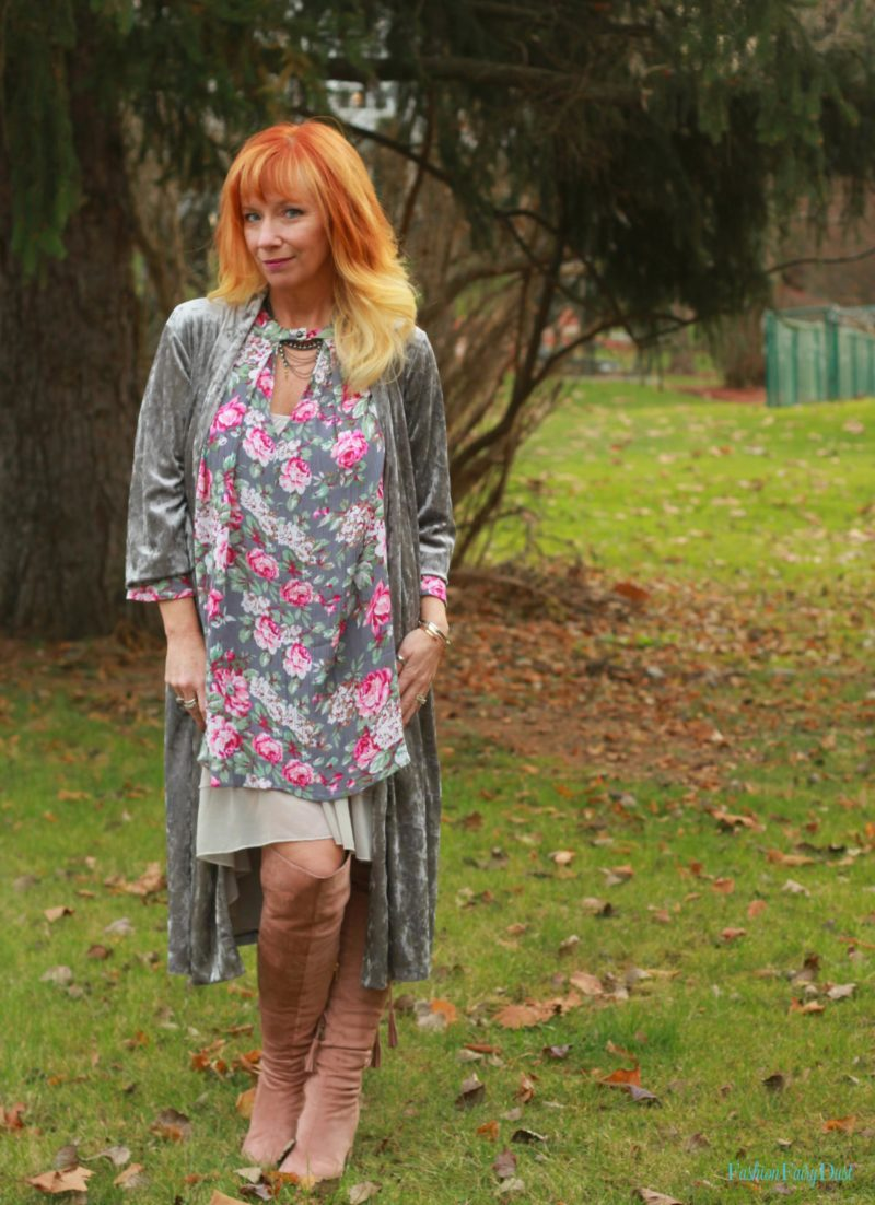 Blush Otk Boots Amp Gray Floral Boho Dress Just Because You