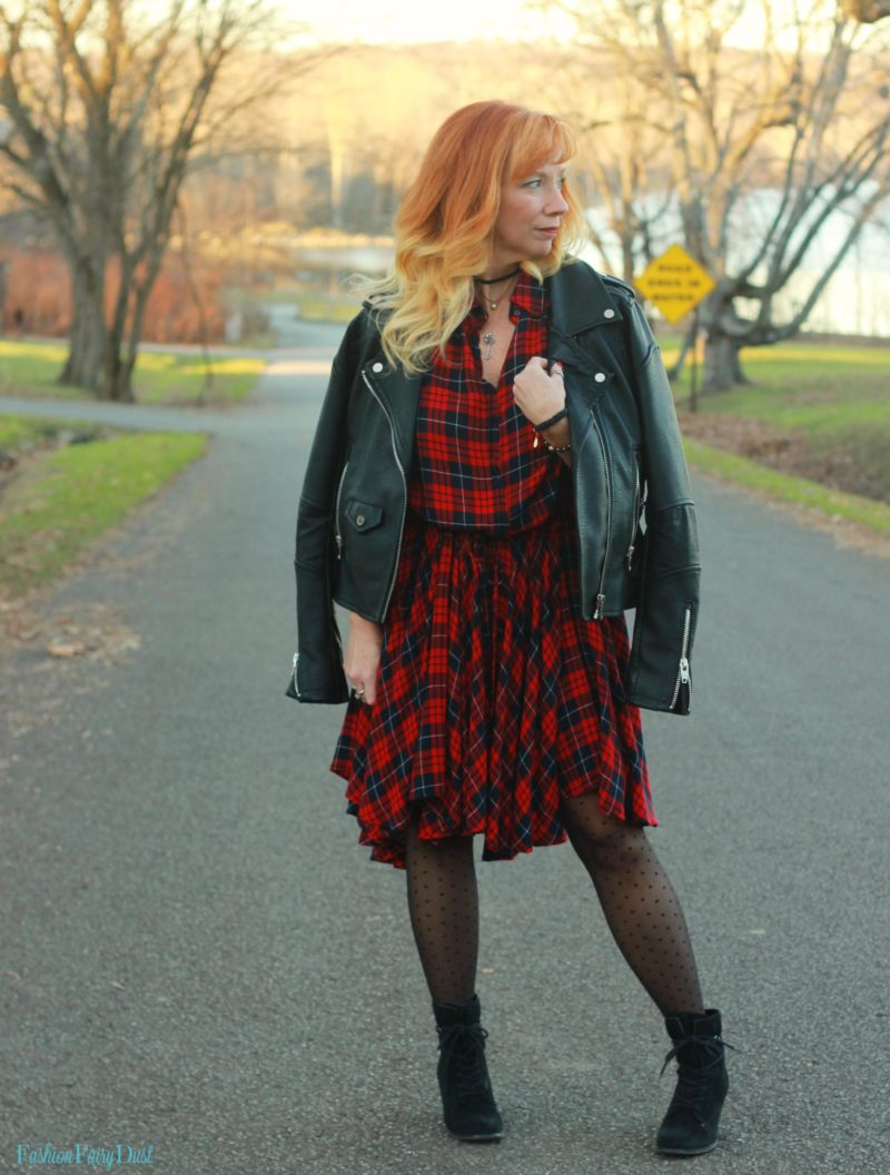 Plaid dress, moto jacket and black ankle boots.