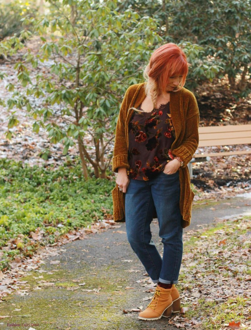 Chenille cardigan, velvet burnout cami & hiking boots.