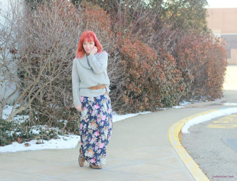 Floral maxi dress, gray sweater and Birkenstock boots.