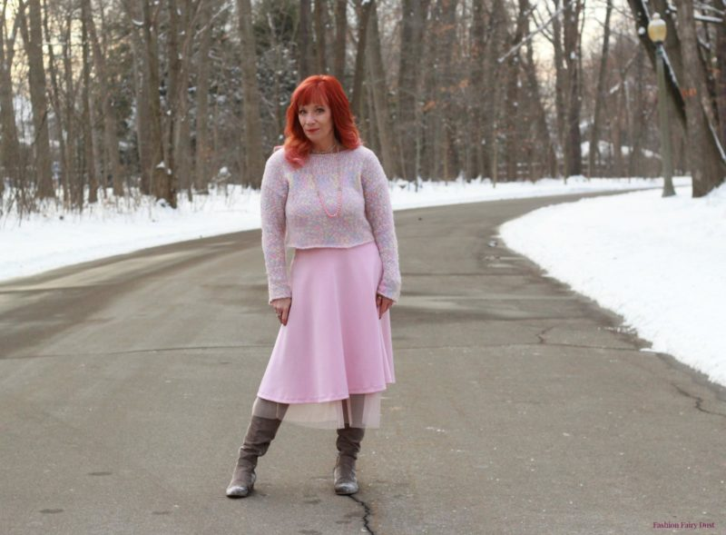 Mixed pastel sweater, pink skirt and over the knee boots.